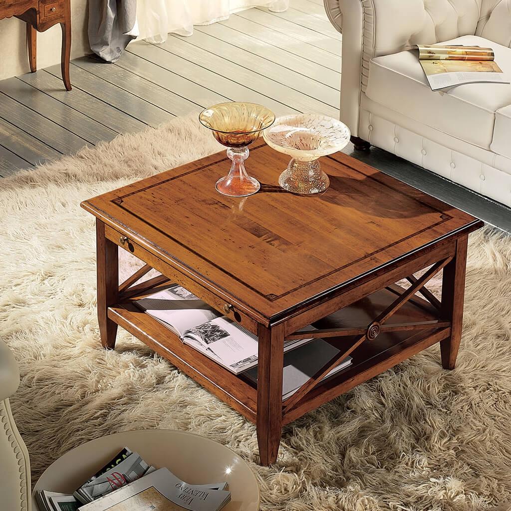 Tavolini Da Salotto Arredamento.Tavolino Quadrato Da Salotto Con Croce Romana E Cassetto Tosato